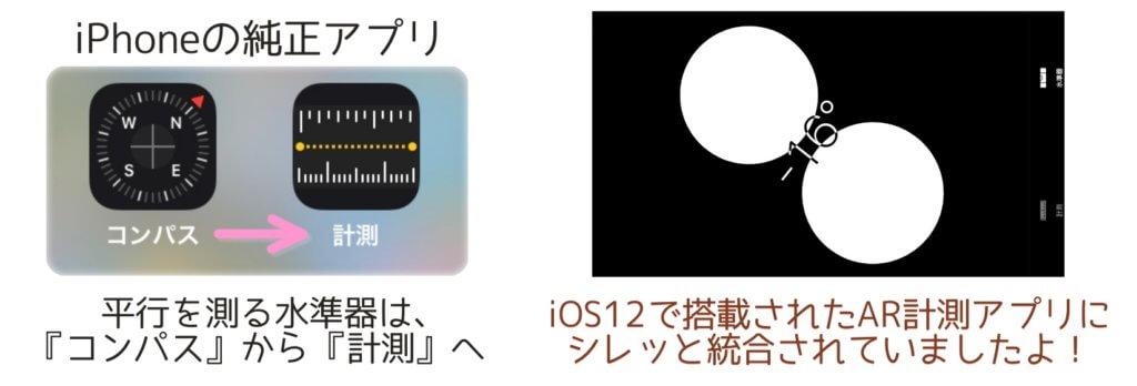 iPhoneの水準器は計測アプリへ