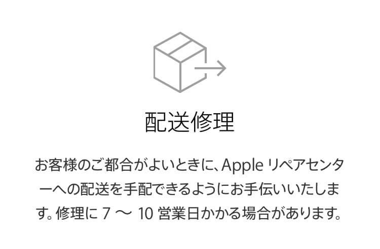 アップルサポートの配送修理