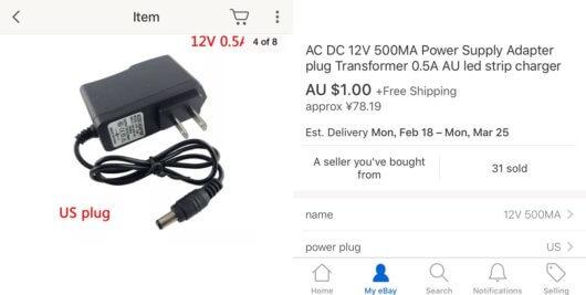 eBayで見つけた12V電源500mA安いよ
