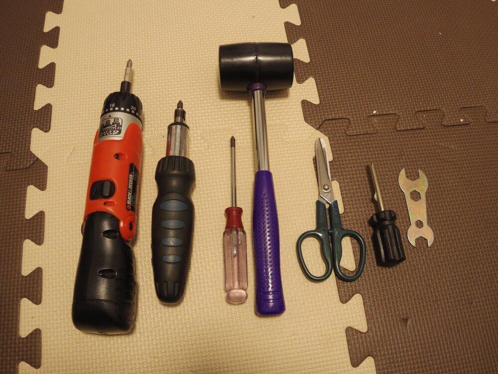 組み立て家具のために用意した道具たち
