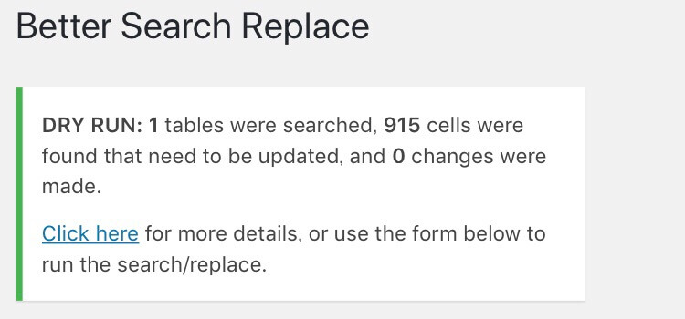 Better Search ReplaceのDry Run