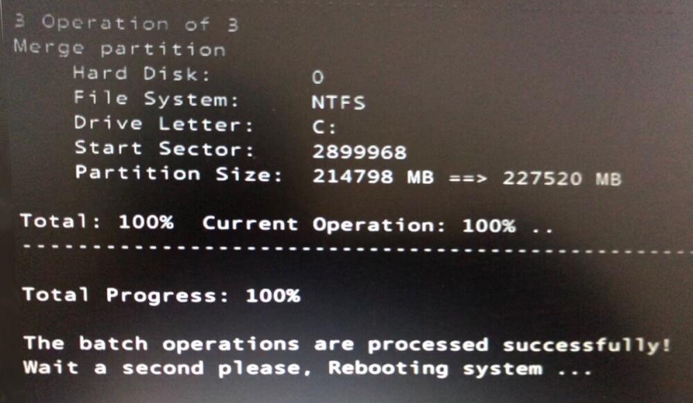 EaseUS Partition MasterでSSDのクローン化が完成した瞬間