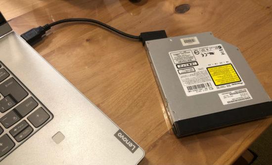内蔵Blu-rayドライブをSlimline SATAケーブルでノートパソコンに接続