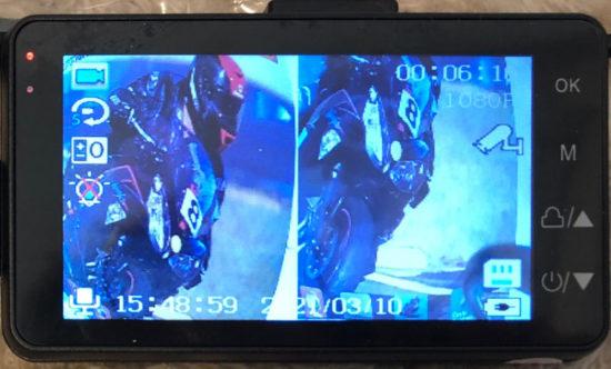 中国製バイク用ドライブレコーダーで録画した映像は3インチ液晶で同時録画でき、画面二分割モードも可能