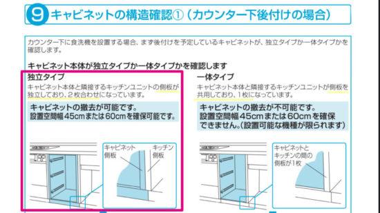 ディープタイプ食洗機設置に必要な横幅は45cmなので、キャビネットを引き抜くことが出来る独立タイプか、一体タイプなのかの確認が必要
